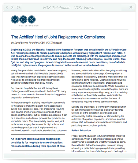 The Achilles' Heel of Joint Replacement: Compliance