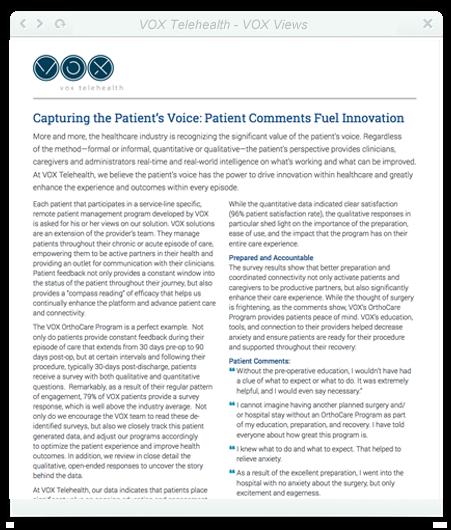 Capturing the Patient's Voice: Patient Comments Fuel Innovation