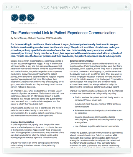 The Fundamental Link to Patient Experience: Communication