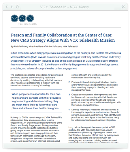 Person and Family Collaboration at the Center of Care: New CMS Strategy Aligns With VOX Telehealth Mission
