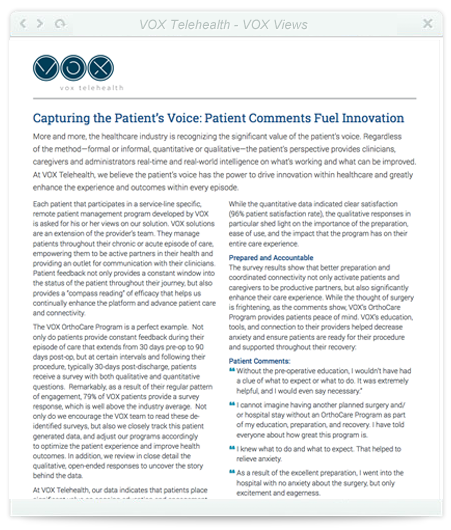 Capturing the Patient's Voice: Patient Comments Fuel Innovation